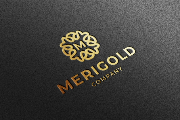 Luxury perspective gold debossed logo mockup