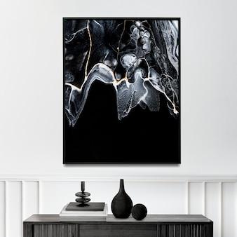 Mockup di cornice di lusso psd con arte sperimentale in marmo nero sul muro