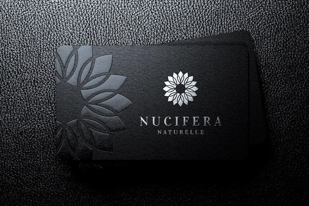 Luxury pile of business card logo mockup with embossed effect