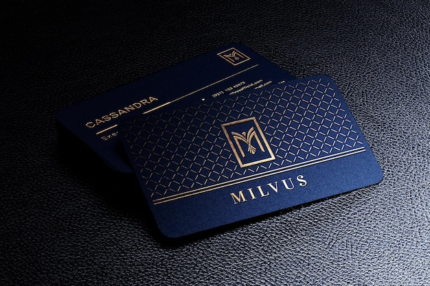 Luxury pile of business card mockup with foil letterpress effect