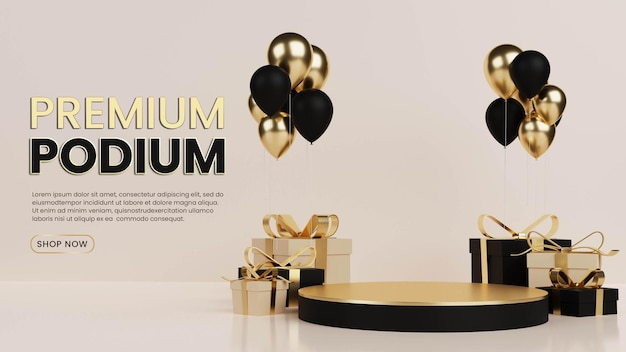 Luxury podium with gift box and balloon