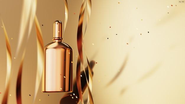 ゴールドの背景にゴールドリボンと高級製品。