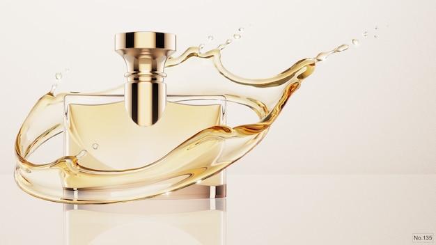Роскошный продукт с желтым всплеском воды. 3d визуализация