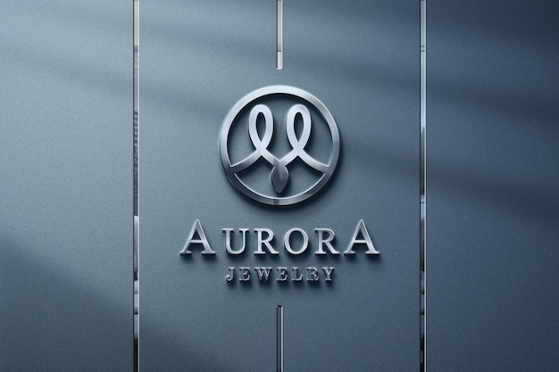 Luxury and realistic silver logo mockup