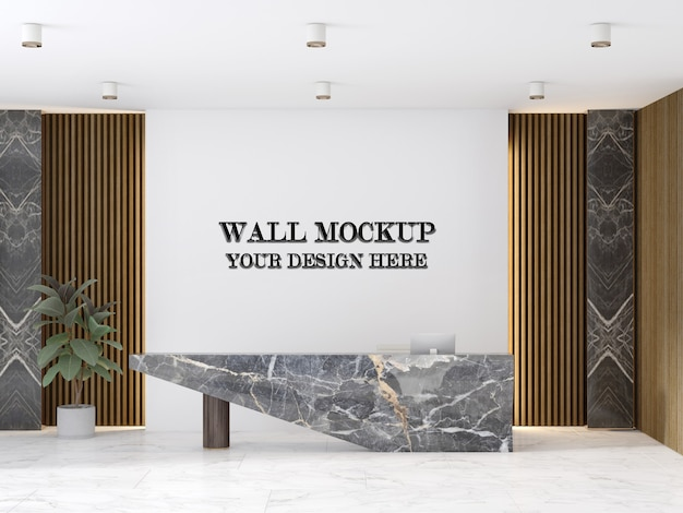 Luxury reception room wall mockup with marble desk in interior