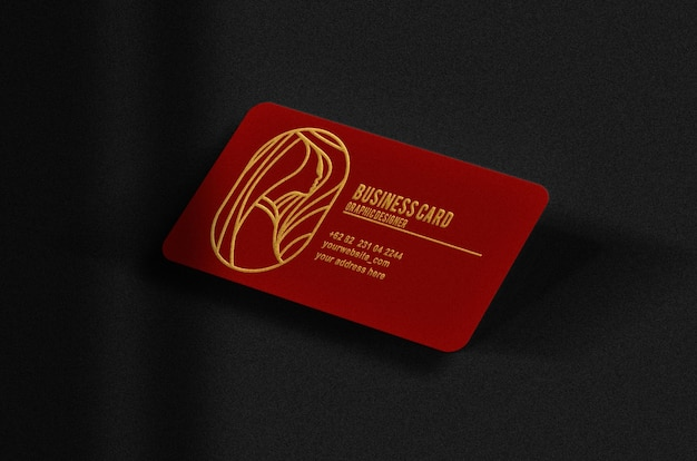 Luxury red floating busines card with gold embossed mockup