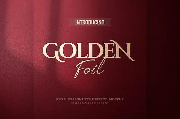 Luxury red golden foil text effect