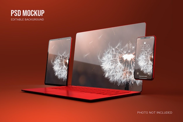 럭셔리 레드 메탈릭 노트북 태블릿 및 스마트 폰 모형 장면 제작자
