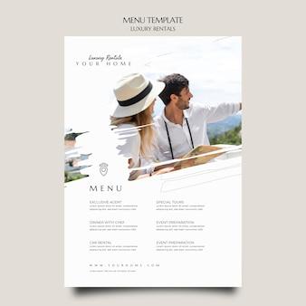 Luxury rental menu template