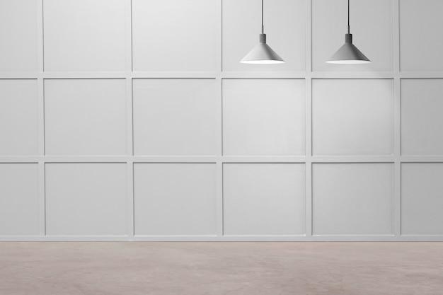 天井ランプ付きの豪華な部屋の壁のモックアップpsd