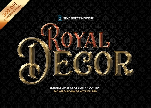 Luxury royal pattern logo text effect psd template.