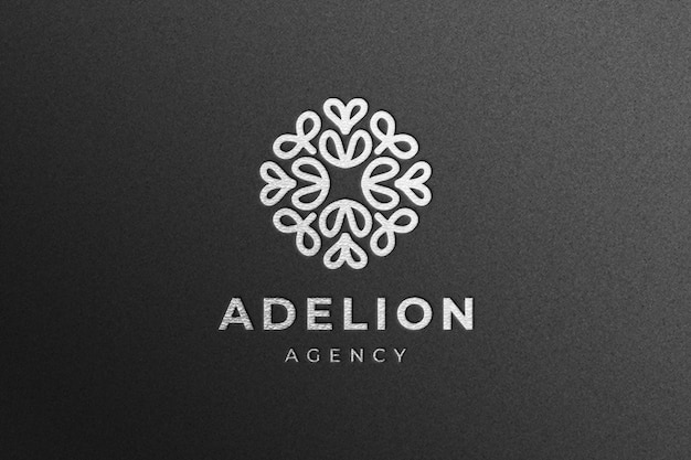 Luxury silver company logo mockup on black craft paper
