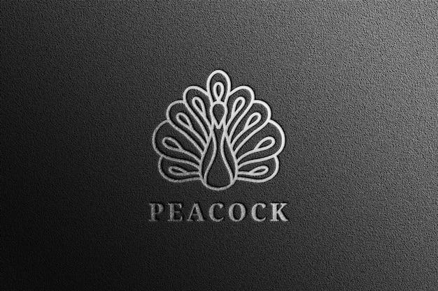 Роскошный серебряный макет логотипа с тиснением