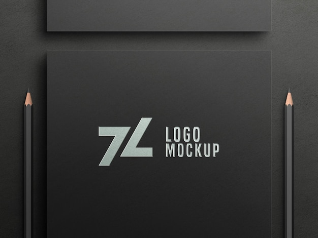 Luxury silver foil logo mockup on black paper