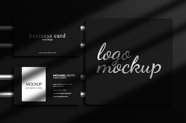 Luxury silver foil logo mockup with luxury business card mockup and shadow overlay