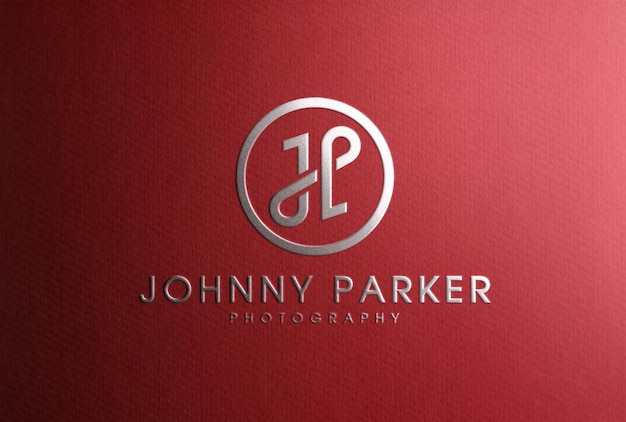 Luxury silver foil stamping logo mockup on red paper