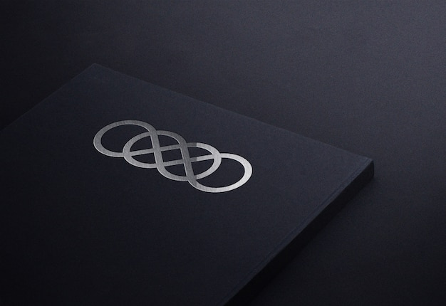 Luxury silver logo mockup on black notepad book business card