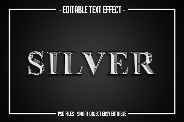 Luxury silver  text style editable font effect