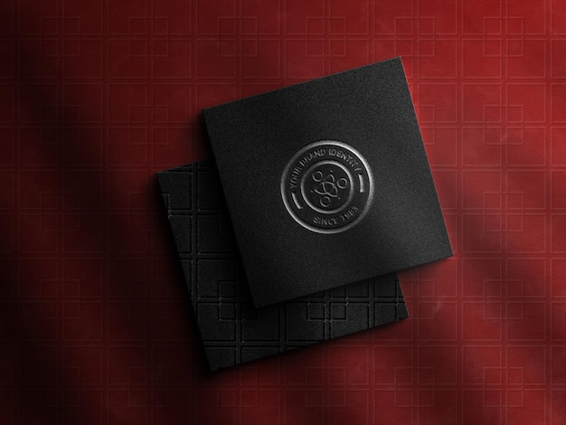 Luxury squre business card with logo mockup