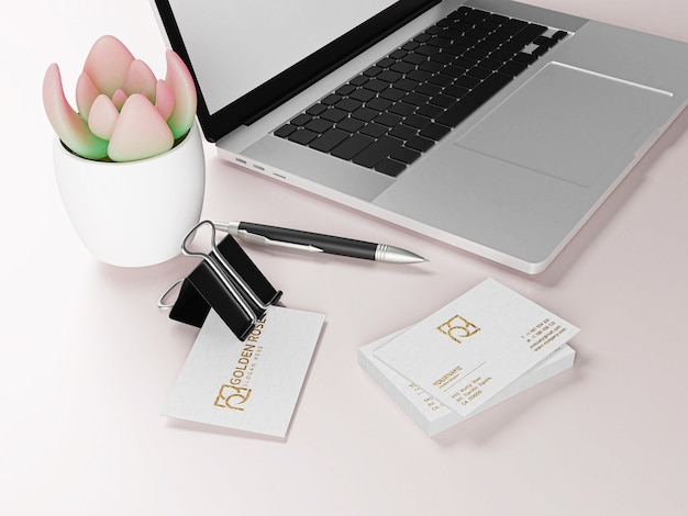 Роскошная фактурная визитка на белом бумажном макете