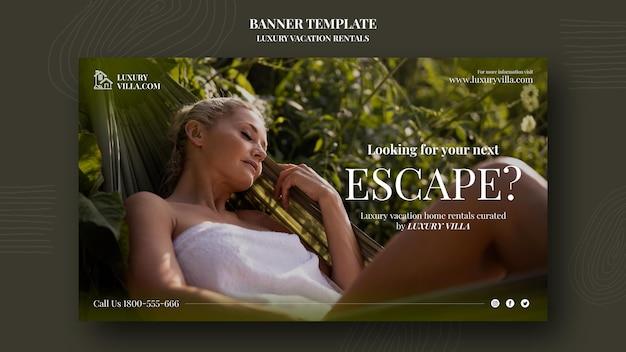 Modello di banner per affitti vacanze di lusso
