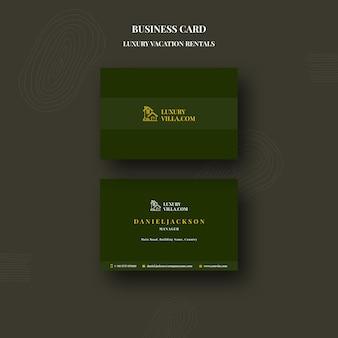 Modello di biglietto da visita per affitti vacanze di lusso