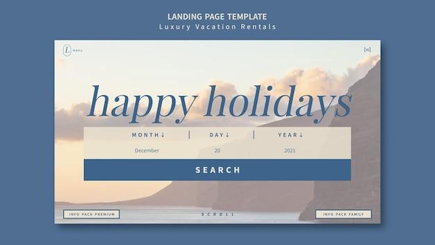 Modello di progettazione della pagina di destinazione degli affitti per le vacanze di lusso