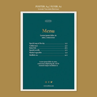 Luxury vacation rentals menu template