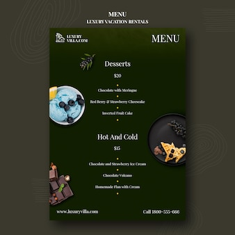 Luxury vacation rentals restaurant menu template