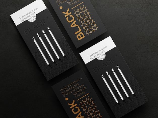 Modello di biglietto da visita verticale di lusso con effetto tipografico