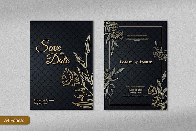 ゴールドラインアートの花と黒の背景を持つ豪華な結婚式の招待状のテンプレート