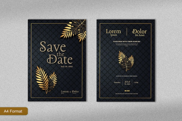 金の熱帯の葉と黒の背景を持つ豪華な結婚式の招待状のテンプレート