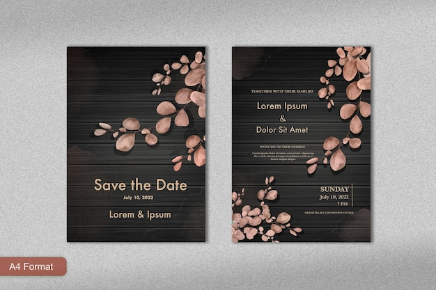 Шаблон приглашения на роскошную свадьбу с цветком розового золота и черным фоном