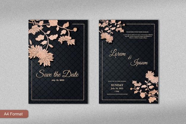 Роскошный шаблон приглашения на свадьбу с восточным цветком из розового золота и черным фоном