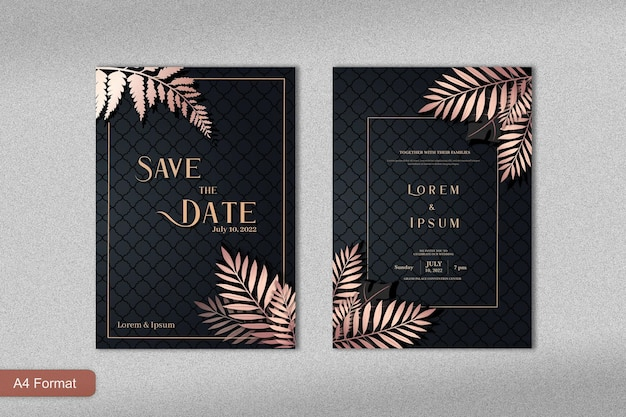 Luxury wedding invitation template with rose gold tropical leaves and black background