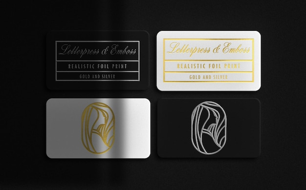 Luxury white and black floating business card with gold and silver embossed mockup
