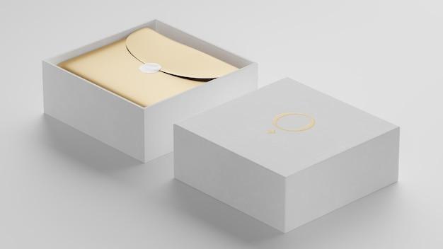 브랜드 아이덴티티 3d 렌더링을위한 럭셔리 흰색 상자 로고 모형