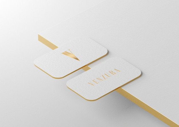 Luxury white gold press business card for brand identity 3d render