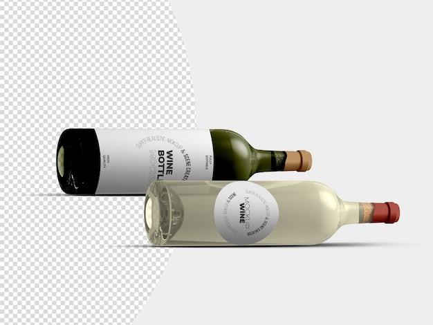 Lying wine bottles mockup template