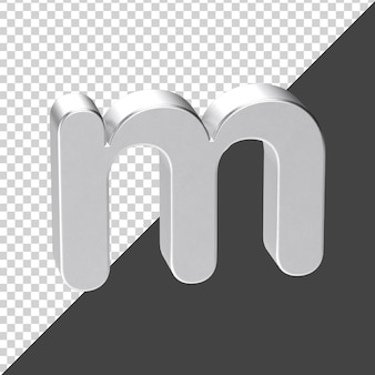 3d 렌더링에서 실버로 만든 m 편지 3d 현실적인 편지 m