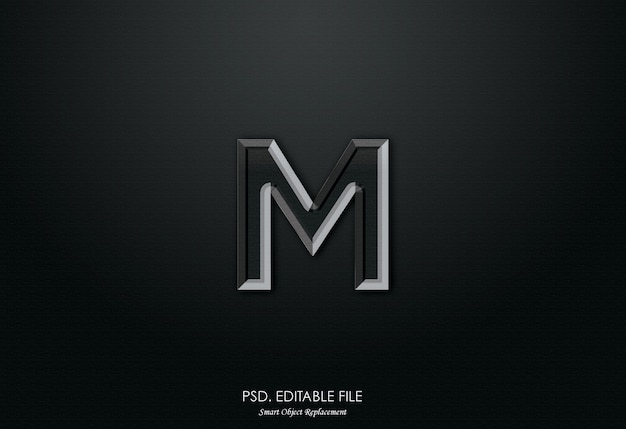 M logo 3d text effect
