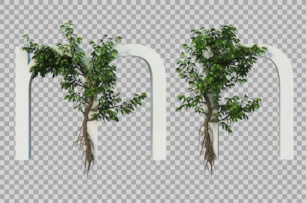 アルファベットmとアルファベットnに忍び寄る木の3 dレンダリング