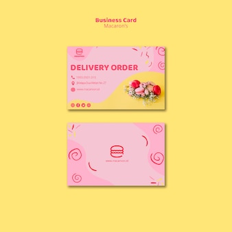 Macaron's delivery order business card