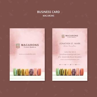 Modello del biglietto da visita di concetto di macarons
