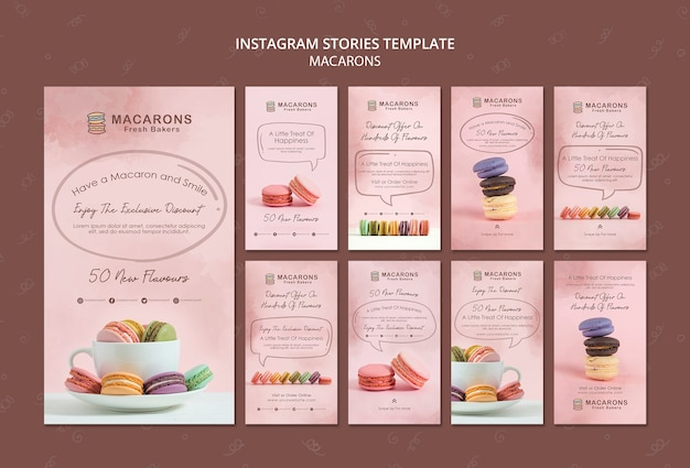 Macarons concept instagram stories template