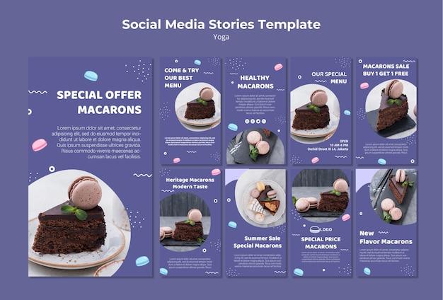 Modello di storie di social media concetto macarons