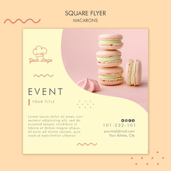 Macarons flyer template concept