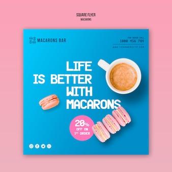 Macarons flyer template theme
