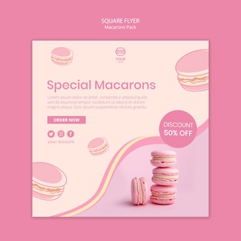 Macarons pack square flyer style