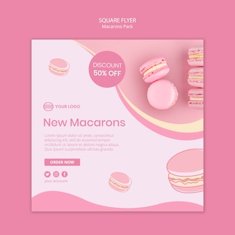 Macarons pack square flyer template